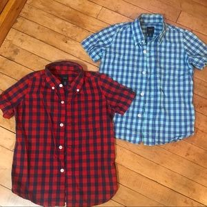 Two GapKids Colorful Gingham Shirts